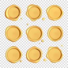 Wax Seal Collection. Gold Stamp Wax Seal Set With Drops Isolated On Transparent Background. Realistic Guaranteed Golden Stamps. Realistic 3d Vector