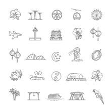 Singapore Icon Set, Thin Line Icon. Singapore Symbols