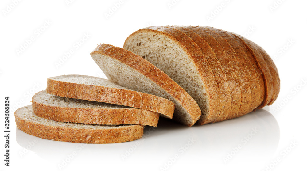 Fototapeta Wheaten bread with bran cut slice. Baking of dough. Isolated on white background.