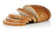 Leinwandbild Motiv Wheaten bread with bran cut slice. Baking of dough. Isolated on white background.