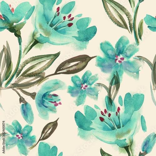 akwarela-niebieskie-kwiaty-wzor
