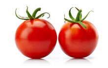 Two Red Tomato Cherry With Green Leaf. Still Life Of Fresh Vegetable. Isolated On White Background.
