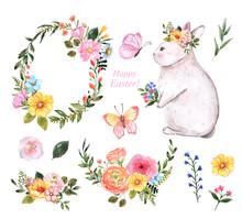 Happy Easter Elements Set. Wat...