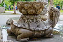 Patterned Stone Turtle With Tu...