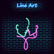 Loving Couple Neon Icon. Line ...