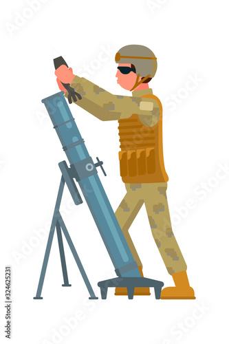 Photo Artilleryman charging howitzer isolated on white