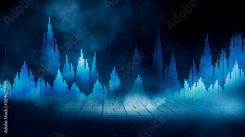 Abstract futuristic city, night view Canvas Print