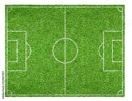Top view of Green soccer field with white lines isolated on white background.