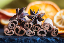 Cinnamon, Star Anise And Dehydrated Oranges