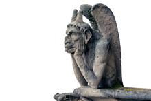 Gargoyle Or Chimera Of Notre Dame Cathedral In Paris, France Isolated On White Background, High Resolution Picture