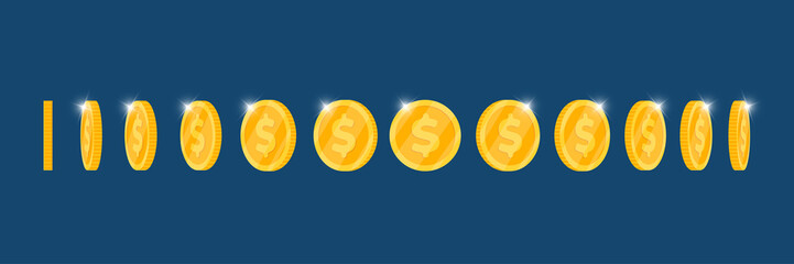 Gold 3d coin turn around different position set for game or apps animation. B...