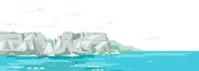 Rocky Cliffs Ocean Landscape Background In Flat Style, Sea Panorama Of Beach Coast In Simple Geometric Form, Sea Waves Crashing Of Gray Rocky Coast