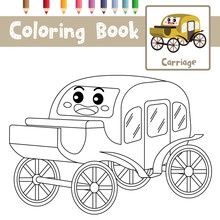 Coloring Page Carriage Cartoon Character Perspective View Vector Illustration
