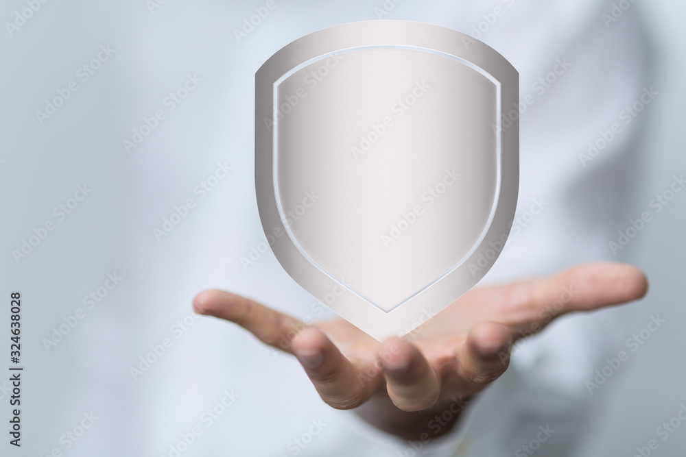 Fototapeta shield protection concept holding in hand 3d