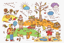 Autumn Season. Children. Walk ...