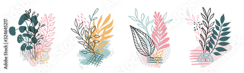 Set abstract floral background isolated on white. Vector Canvas Print
