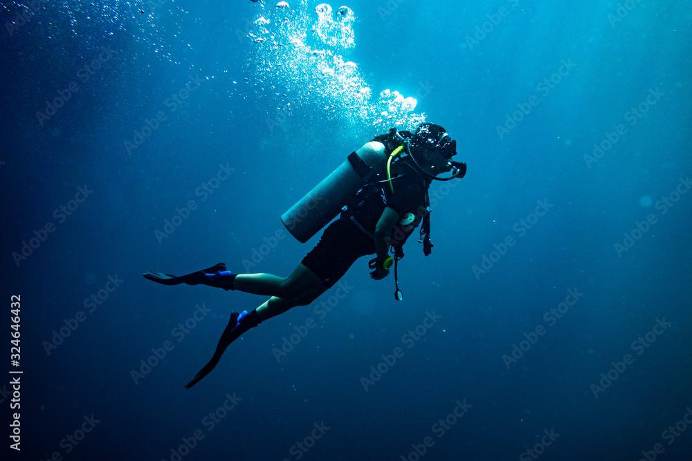 Fototapeta Scuba diving safety stop