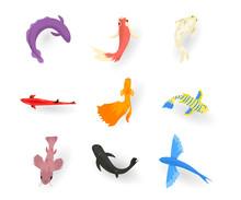 Exotic Fish Flat Vector Illustrations Set