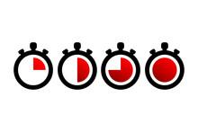 Timer Icons. Stopwatch Symbols. Flat Icons On White Background. Vector Illustration.