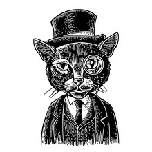 Cat Gentleman Holding A Watch ...