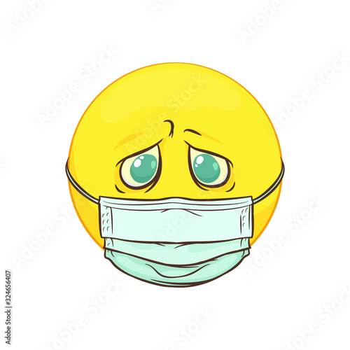 Emoji in a medical mask, cartoon vector EPS Wallpaper Mural
