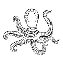 Hand Drawn Octopus Coloring Vector Illustration For Children And Adults. Design For Wallpapers, Postcards And Posters. Black And White. Underwater World.
