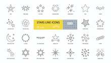 Set Of 25 Vector Star Icons Wi...