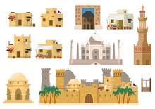 Vector Set Of Arabic Architecture. Houses, Taj Mahal, Rotunda, Castle, Towers, Market Building, Gates, Well. Mud Brick Buildings. Flat Style.