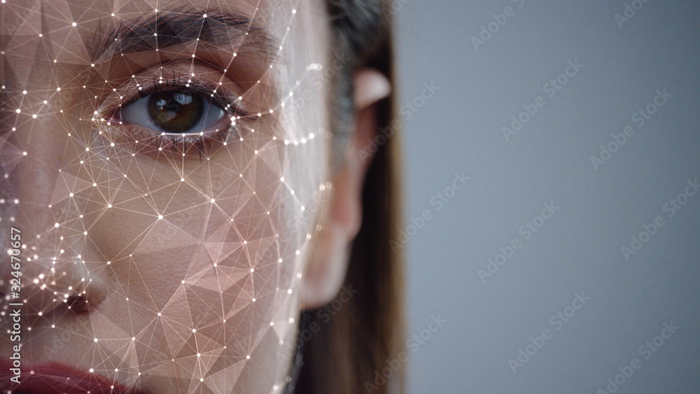 Fototapeta Face ID. Future. Half Face of Young Caucasian Woman for Face Detection. Brown Female Eye Biometrical Iris Scan Reading for Person Identification. Augmented Reality. 3D Technology Concept.