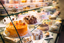 Pastry Shop Glass Display With...