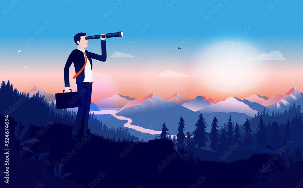 Fototapeta Looking for a job - Businessman in suit outdoors using binocular to search for opportunities. Briefcase in hand and beautiful landscape. Looking for success, finding solutions concept. Illustration.