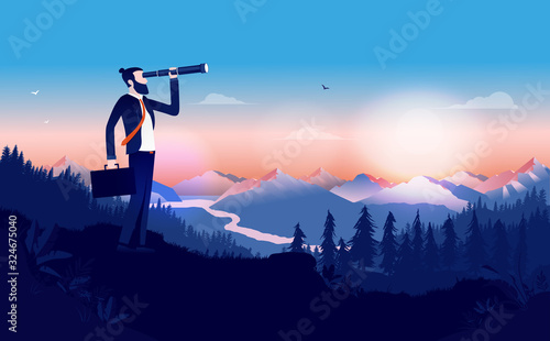 Modern businessman with binocular searching for opportunities Wallpaper Mural