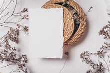 Wedding Invitation Mockup With Dry Plants , Papers On White Textile Background. Top View, Flat Lay. Wedding Stationary. Perfect For Presentation Of Your Invitation, Menu, Greeting Cards