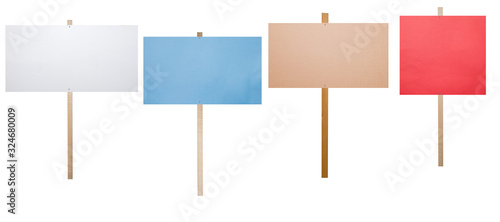 Fototapeta blank protest signs isolated on white obraz