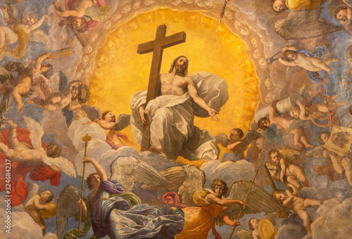 RAVENNA, ITALY - JANUARY 28, 2020: The freco Glory of Resurected Jesus from the cupola of side  chapel in Duomo (cathedral) by Guido Reni (1575 - 1642) Fototapet