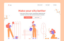 Do-it-yourself Beautification Of The City. Girl Volunteer Paints A Fence, Removes Trash, Plants A Tree. Landing Page Design Concept Template. Vector Flat Illustration.