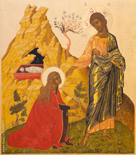 Photo RAVENNA, ITALY - JANUARY 28, 2020: The icon of The Christ's Appearance to Mary Magdalene after the resurrection from the chruch Chiesa di Santa Maria Maddalena