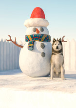 Husky Posing Beside The Snowman With Copy Space On The Bottom