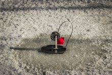Winter Fishing For Pike On The Imitation Fish On Live Bait.
