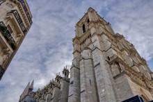 Beautiful Shot Of A Notre-Dame De Paris Tower, Seven Months After The Fire In Paris, France