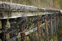 Closeup Of An Old Wooden Railr...