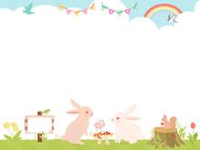 かわいいウサギと草原の背景素材