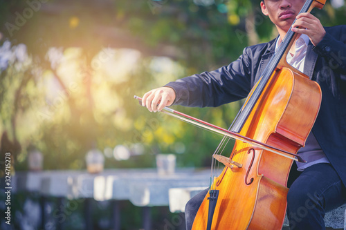 Fototapeta Musician man is practicing the cello playing with the melodiousness