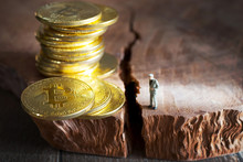 Virtual Money Bitcoin Cryptocurrency - Halvings The Bitcoin Currency - Gold Coin On The Wooden Background With A Symbolical Halving