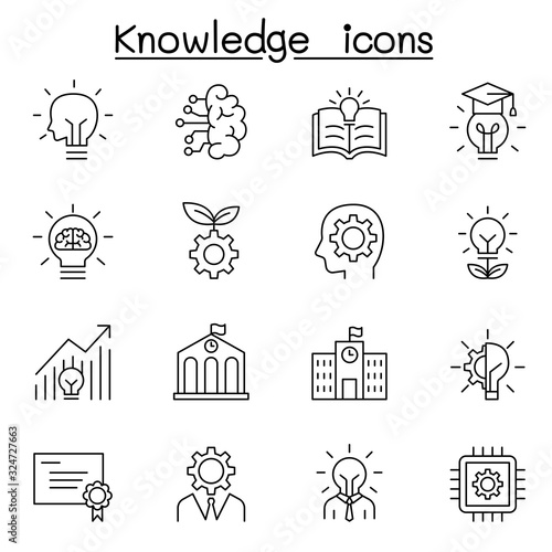 Fotomural Knowledge icons set in thin line style