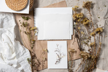 Wedding Invitation Mockup With Dry Plants , Old Papers On Grey Textile Background. Top View, Flat Lay. Wedding Stationary. Perfect For Presentation Of Your Invitation, Menu, Greeting Cards