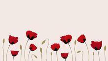 Flat Set Of Poppy Flowers For Web Design Banner, Card, Flyer, Invitation, Sheet, Leaflet, Brochure With Copy Space. Vector Illustration On Light Beige Background.
