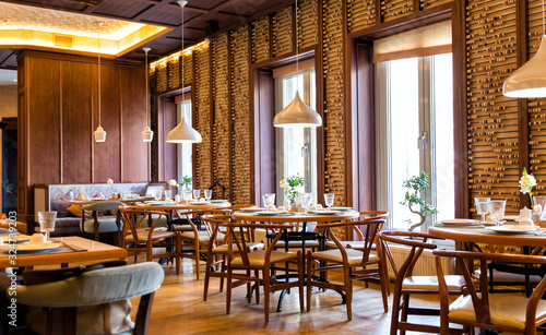 Interior of the Chinese restaurant Canvas Print