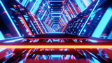 Tunnel in space ship, technology and futureistic concept