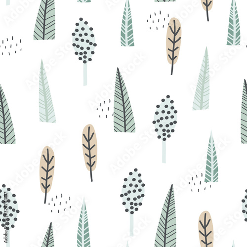 Hand drawn foresr seamless pattern Canvas-taulu